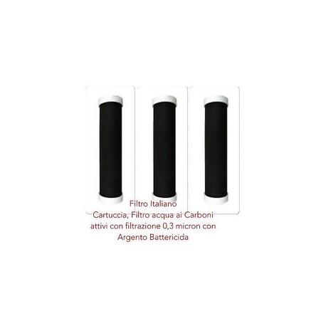 Carbon Block sistema di filtrazione argentizzata con matrice filtrante 0.3 micron.