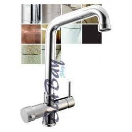 Rubinetto 5 vie la manopola a dx per acqua fredda e calda viceversa a sx per 3 qualità acqua depurata (liscia,fredda,frizzante)